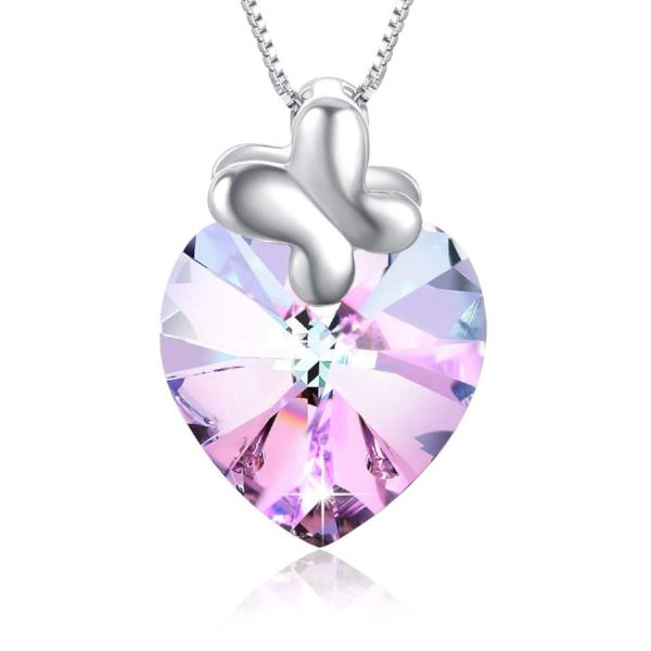 Swarovski Crystal Heart of Ocean Bow Tie Pendant Necklace, Pink