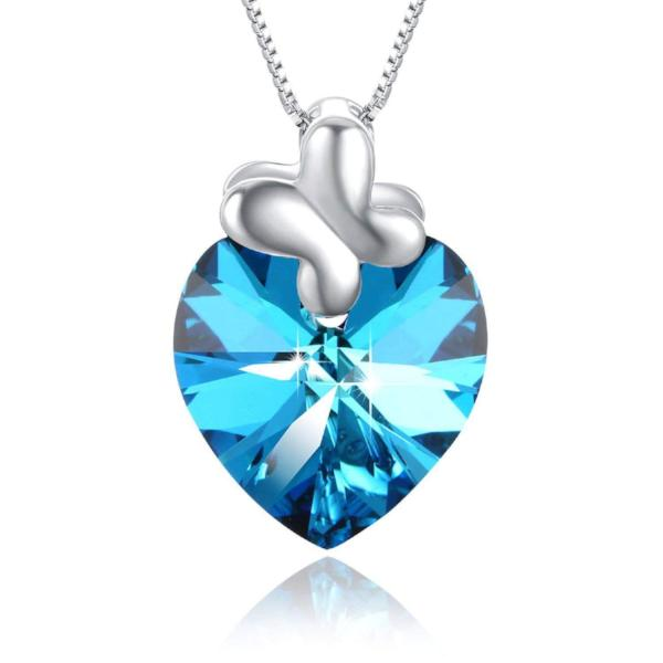 Blue Heart Bow Tie Pendant Necklace