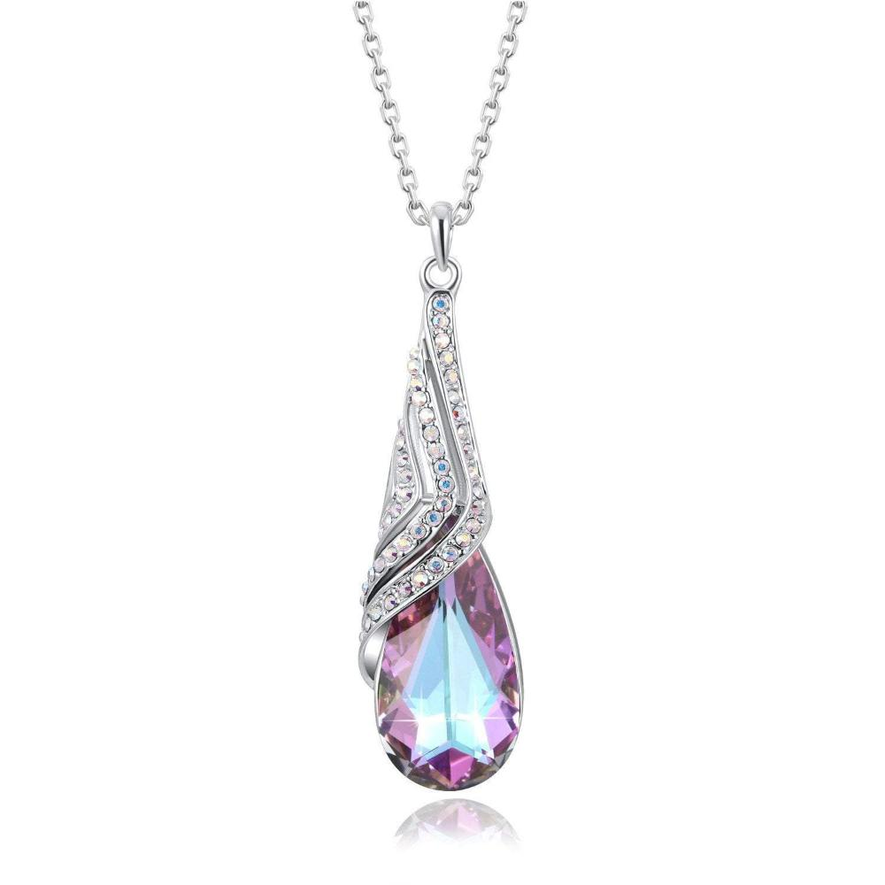 Sailboat Charm Pendant Tear Drop Water Drop Necklace Purple