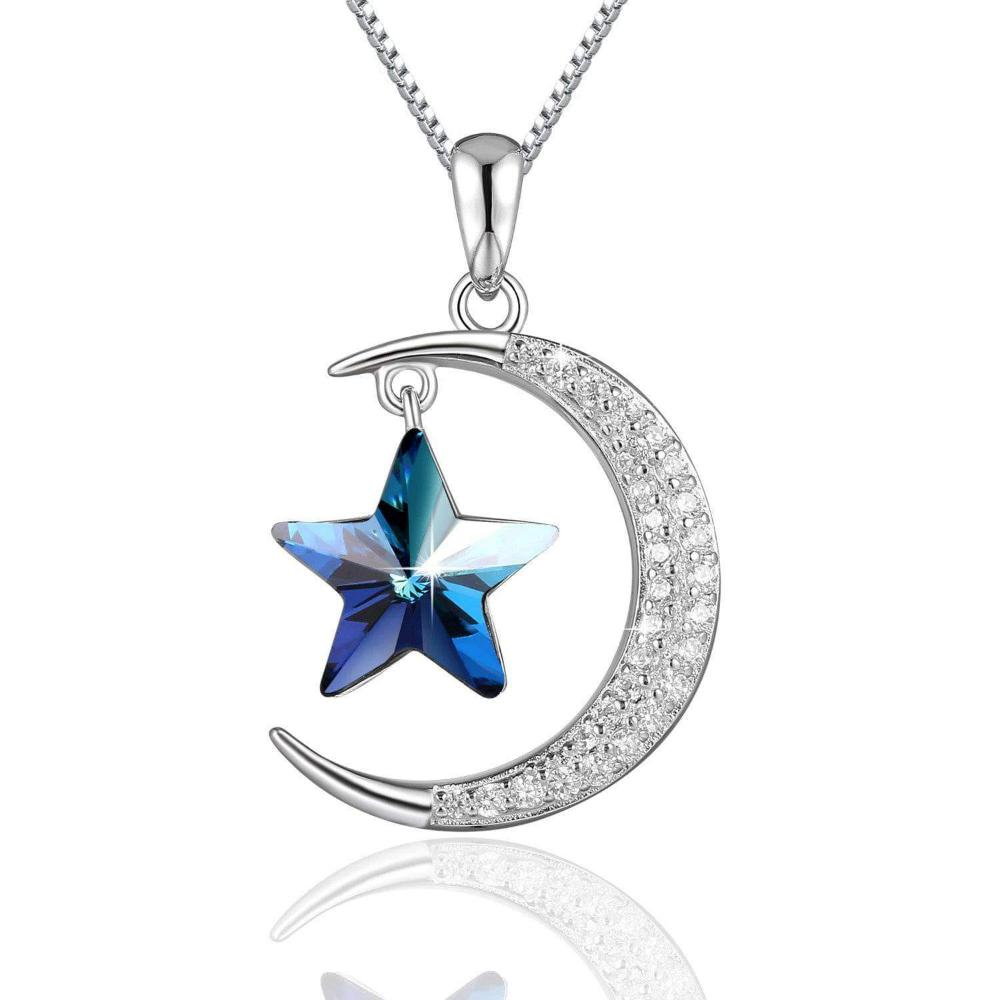 Swarovski Crystal 925 Sterling Silver Star & Moon Pendant Necklace, Blue