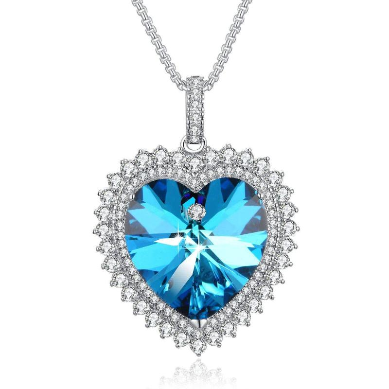 Deep Love Heart Pendant Necklace Blue