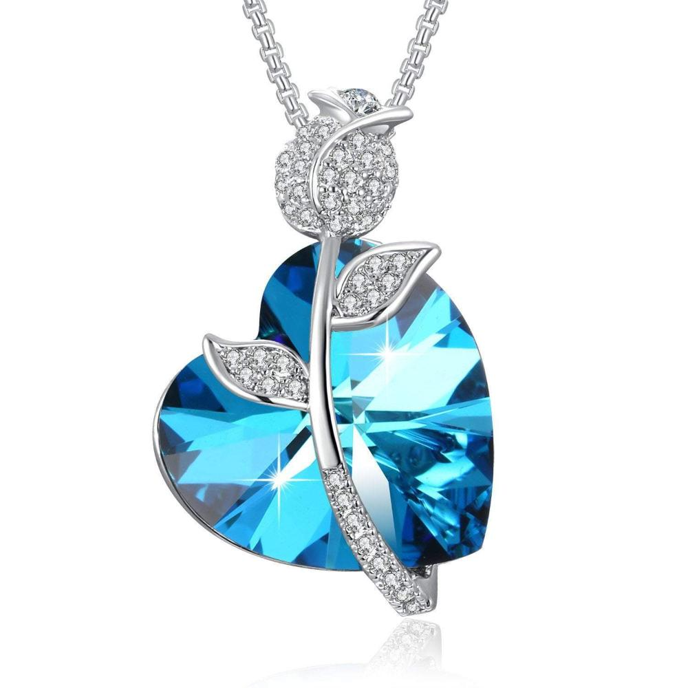 Romantic Rose Heart Pendant Necklace Blue For Her