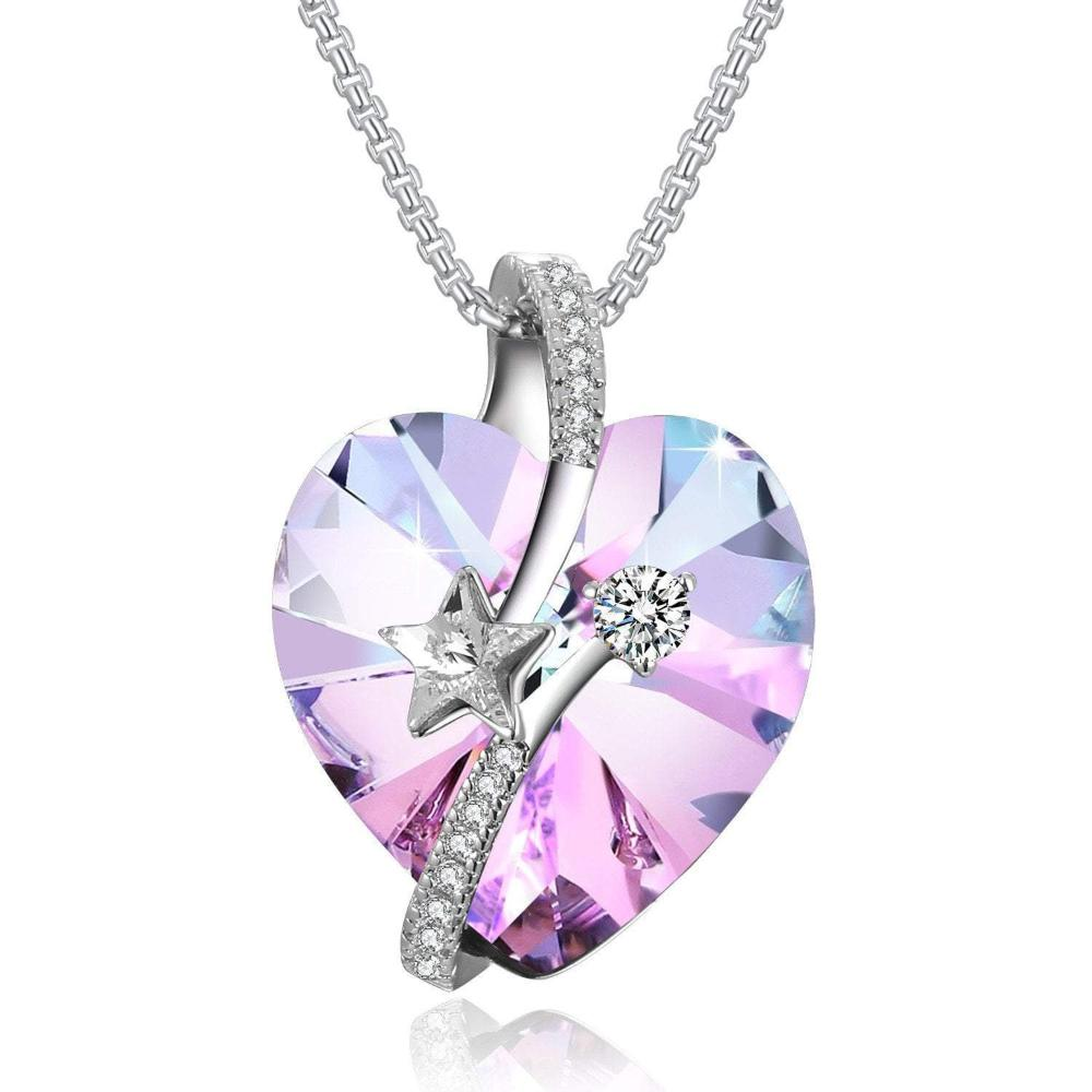 Swarovski Crystal Mother's Day Gifts Heart Necklace, Blue/Purple