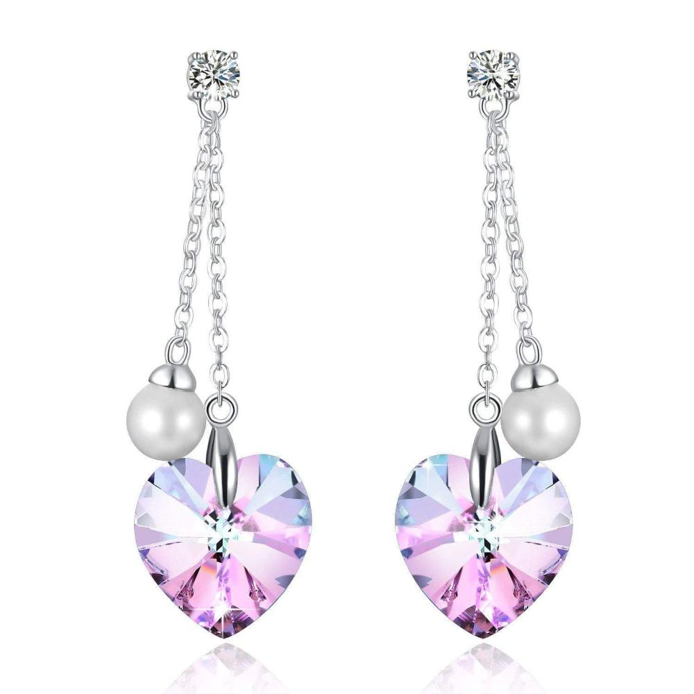 """Forever Love"" Heart Shape Tassels Pearl Eardrop Earring Purple For Her"