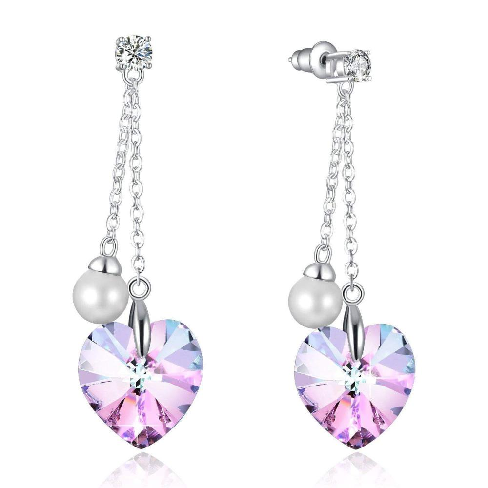"Swarovski Crystal ""Forever Love"" Tassels Pearl Earring, Purple, Blue"
