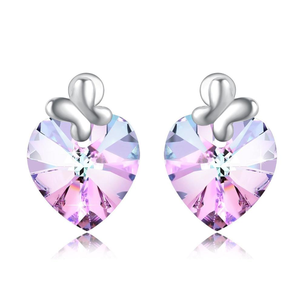Swarovski Crystal Heart of Ocean Bow Tie Stud Earring, Pink/Blue