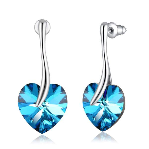 "Swarovski Crystal ""Apple Heart"" Stud Earring