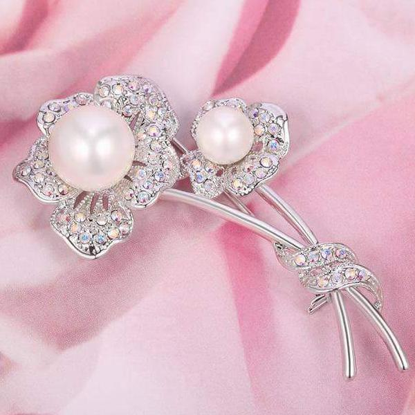 Swarovski Crystal Brooch - Double Flower