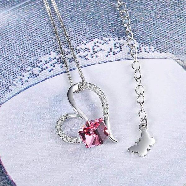 Heart of Ocean Pendant Necklace Pink Gift