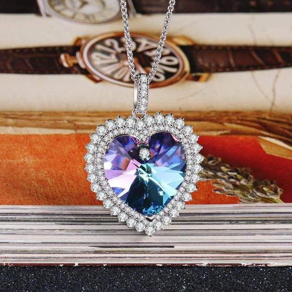 Deep Love Heart Pendant Necklace Gift Purple