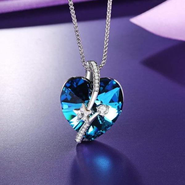 Heart Necklace Blue For Mother