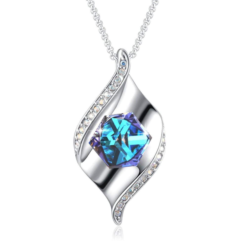 PLATO H Cube Crystal Pretty Pendant Necklace for Women, Blue Clearance Sale