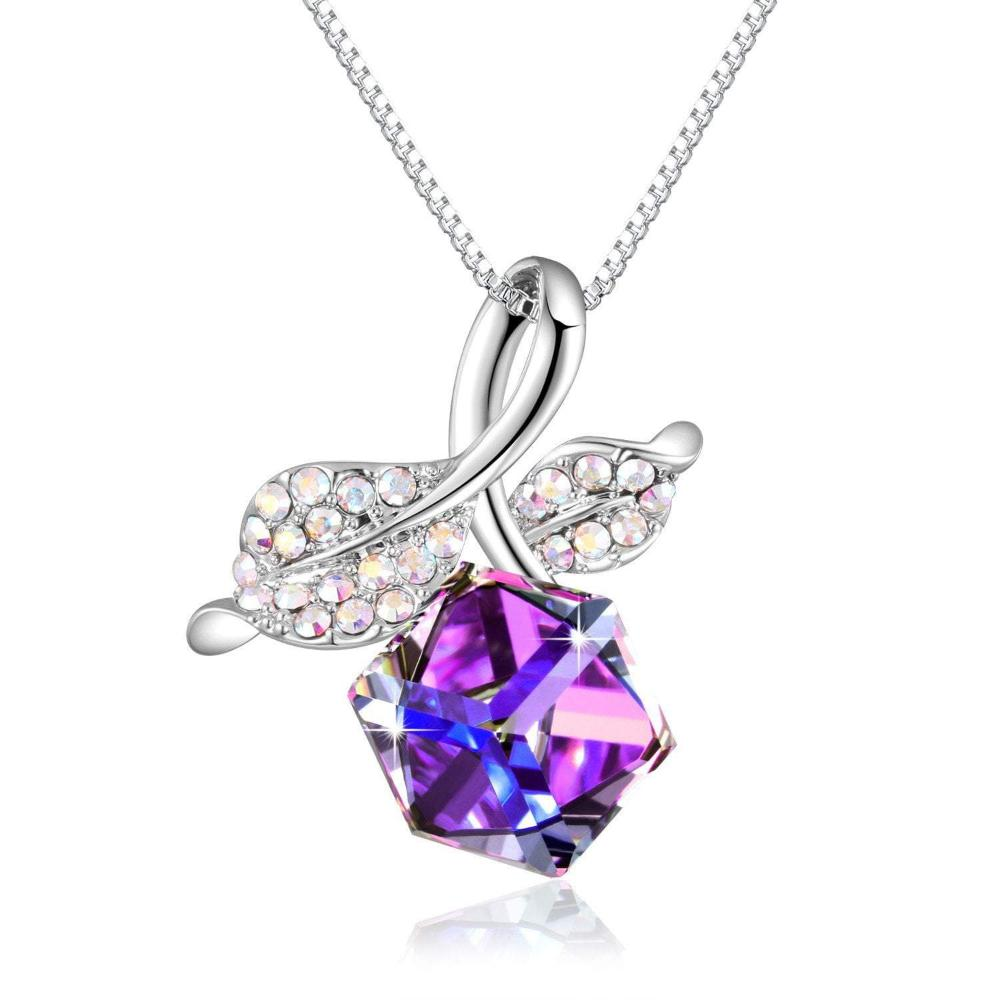 Romantic Rose Leaf Pendant Necklace Purple