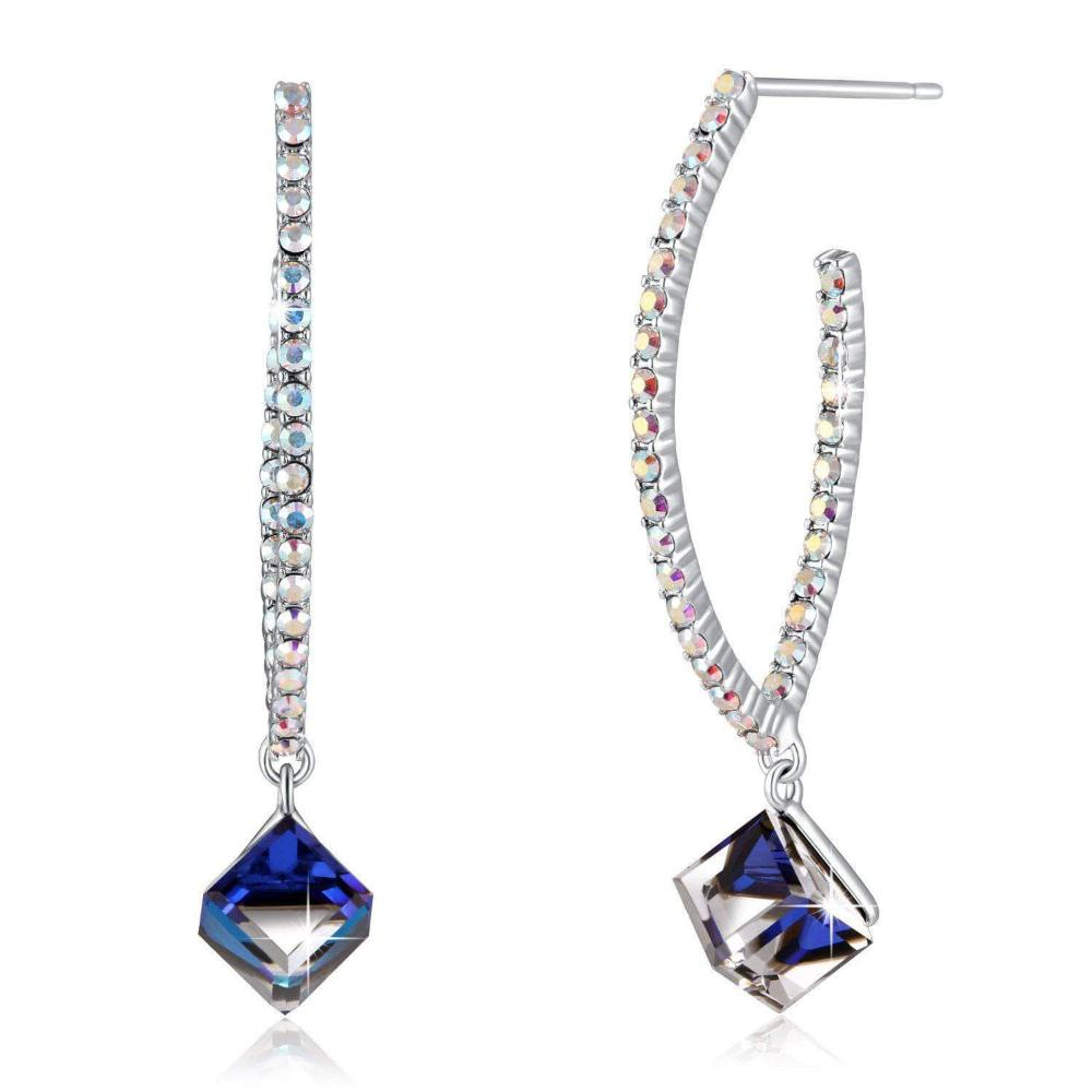 Swarovski Crystal Angel Eyes Earrings Crystal Drop Earring, Blue, Purple