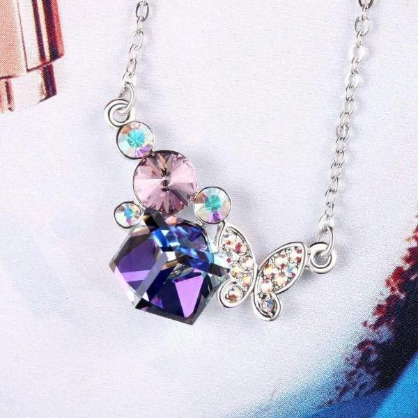 Pretty Butterfly Pendant Necklace Violet Gift