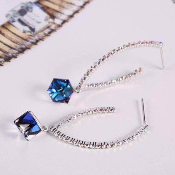 Angel Eyes Drop Earrings Blue Gift