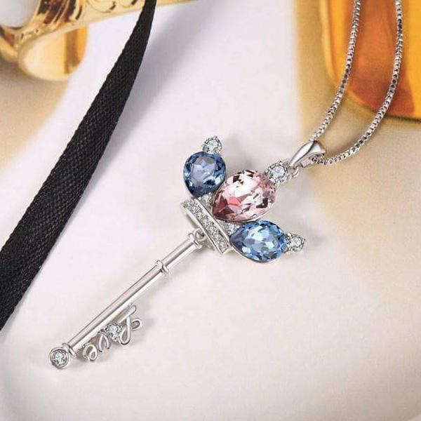 Swarovski Crystal Crown Key Necklace