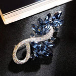 Swarovski Crystal Leaf Brooch ,Ocean Blue