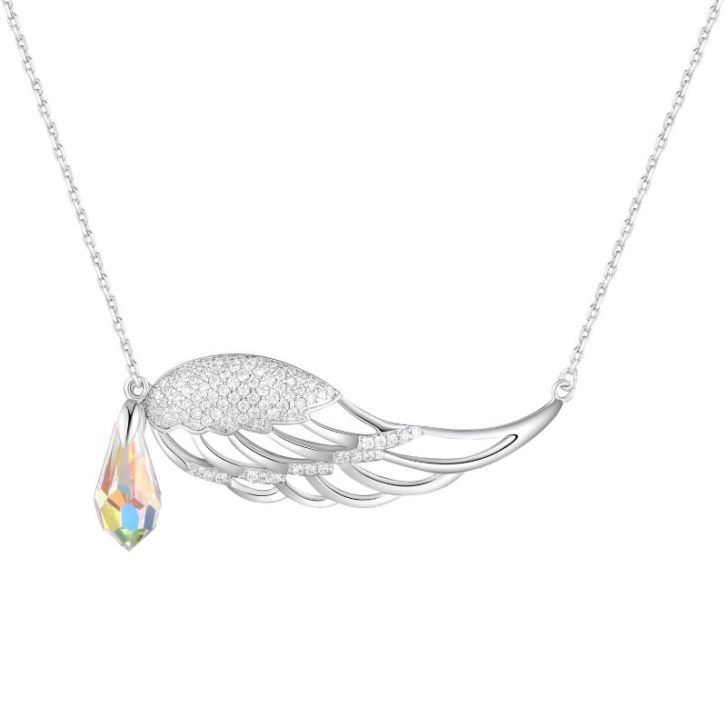 Swarovski Crystal Guardian Angel Wing Drop Pendant Necklace