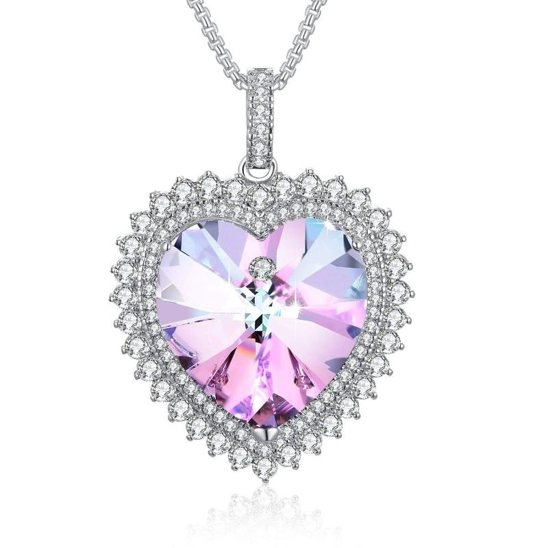Deep Love Heart Pendant Necklace Purple