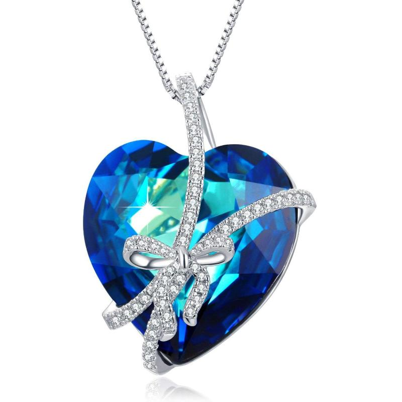 Swarovski Crystal Butterfly Heart Of Ocean Pendant Necklace
