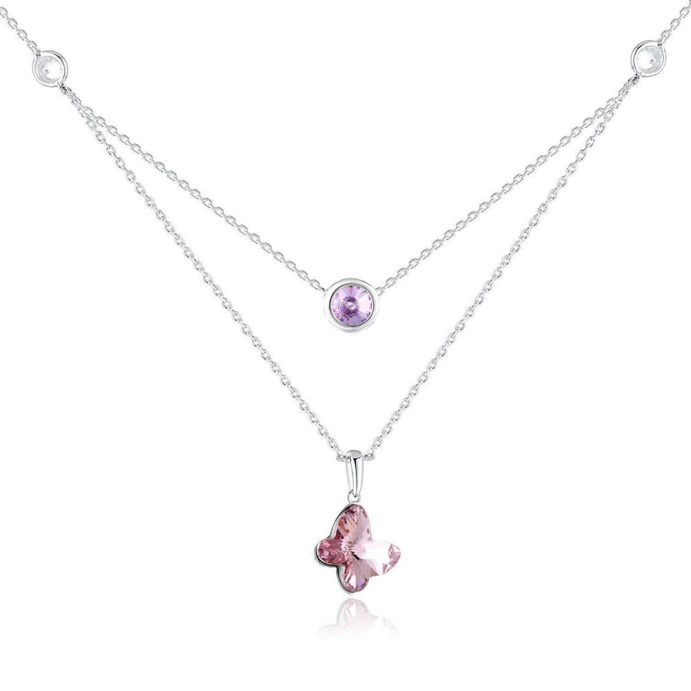 Swarovski Crystal Butterfly Pendant Necklace ,Pink