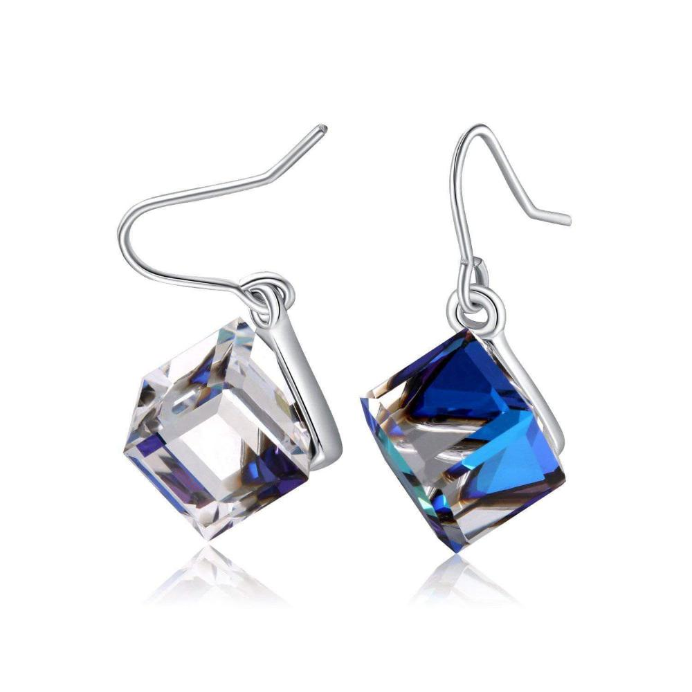 Color Changing Ocean Blue Cubic Crystal Earrings