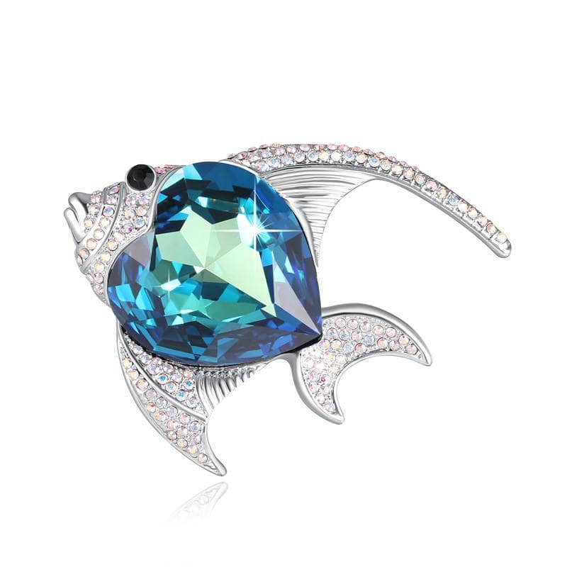 Swarovski Crystal Brooch - Blue Fish