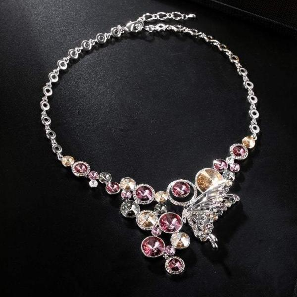 MAGNETIC NECKLACE, BLUE, VIOLET ,REDDISH BROWN, MULTI-COLORED, RHODIUM PLATING, Swarovski Crystals