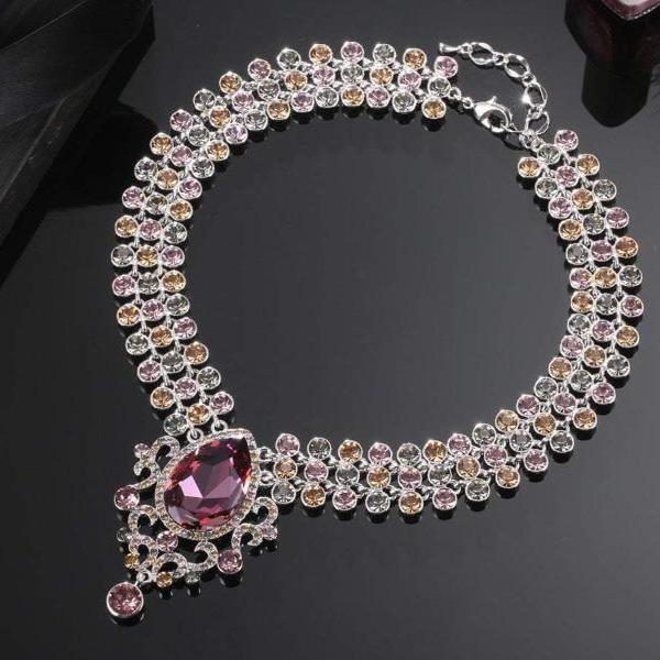 BARON NECKLACE, RED, MULTI-COLORED, RHODIUM PLATING, Crystals
