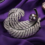 Love Pearl & Feather Brooch