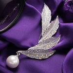 Pearl & Leaf Brooch For Her