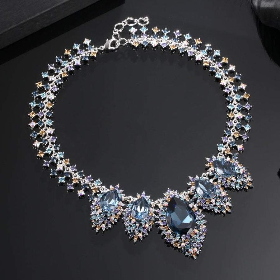 LUMINOUS FAIRY NECKLACE, MULTI-COLORED, RHODIUM PLATING, Swarovski Crystals