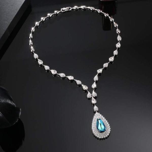 MIX NECKLACE, MULTI-COLORED, RHODIUM PLATING, Swarovski Crystals