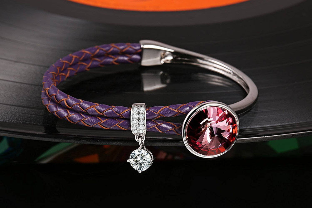 Crystal Braided Leather Bracelet Purple