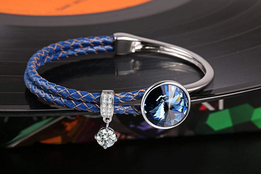 Crystal Braided Leather Bracelet Blue
