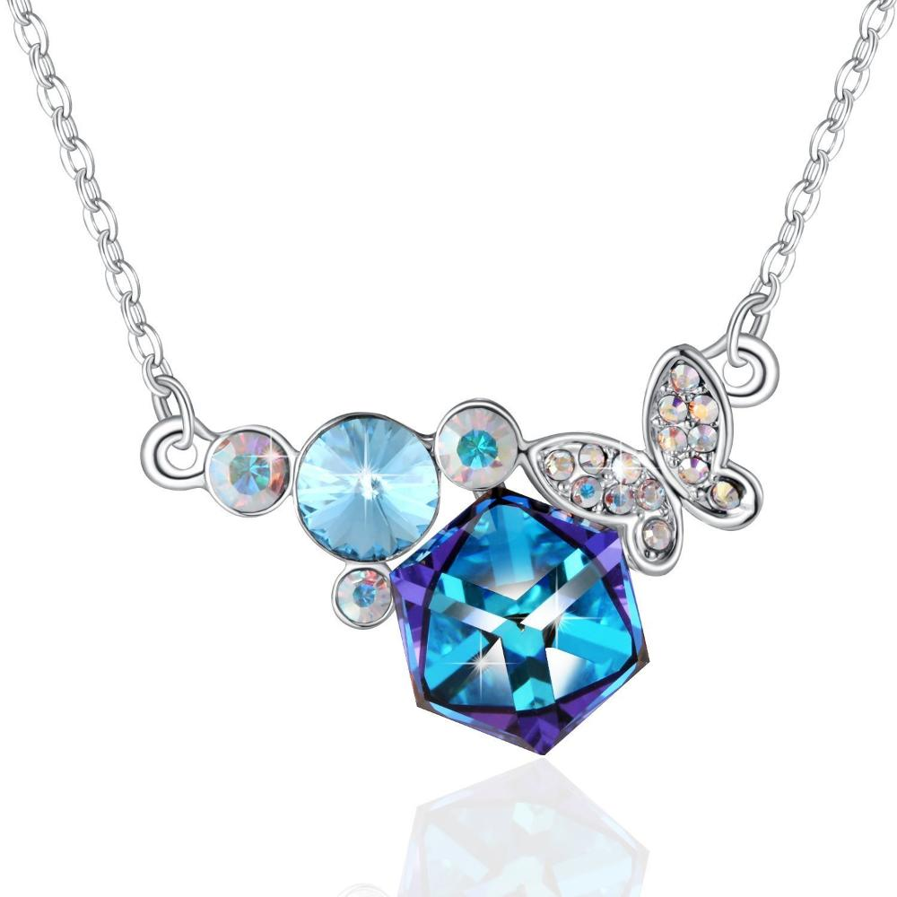 Swarovski Crystal Pretty Butterfly Pendant Necklace, Blue/Purple