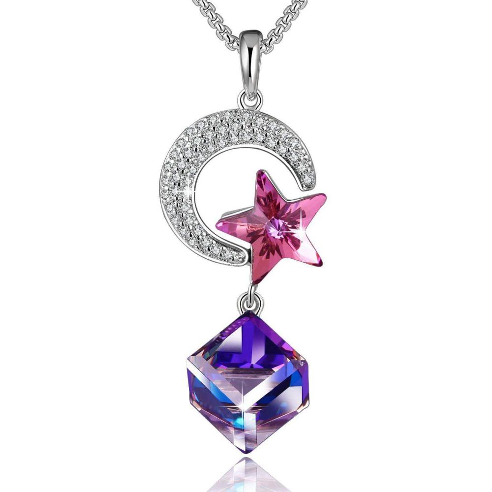 Star & Moon Lovers Pendant Necklace Violet
