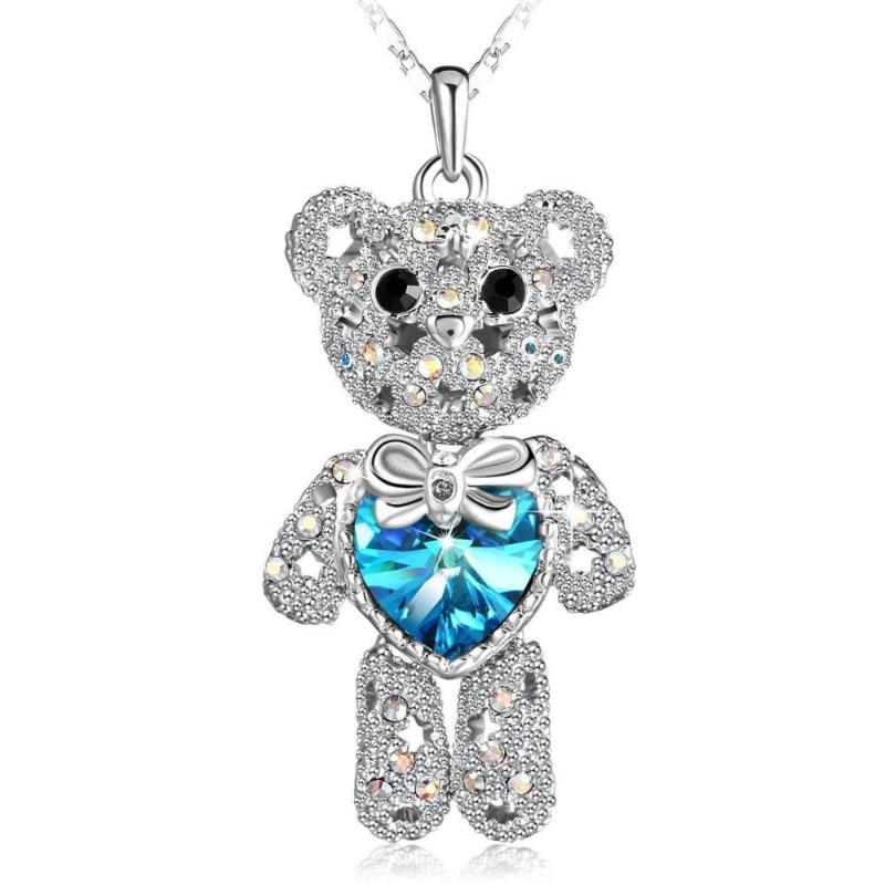 Cute Crystal Necklace Pretty Bear Pendant Necklace Blue