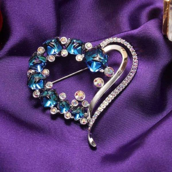 Ocean Blue Heart Crystals Romantic Brooch Crystal