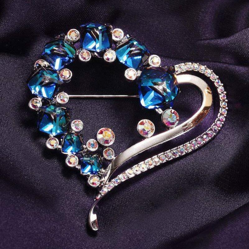 Swarovski Crystal Ocean Blue Heart Romantic Brooch