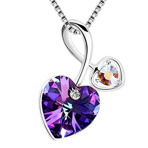 "Swarovski Crystal ""Soul-Mate"" Love Heart Pendant Necklace,Blue/Violet"