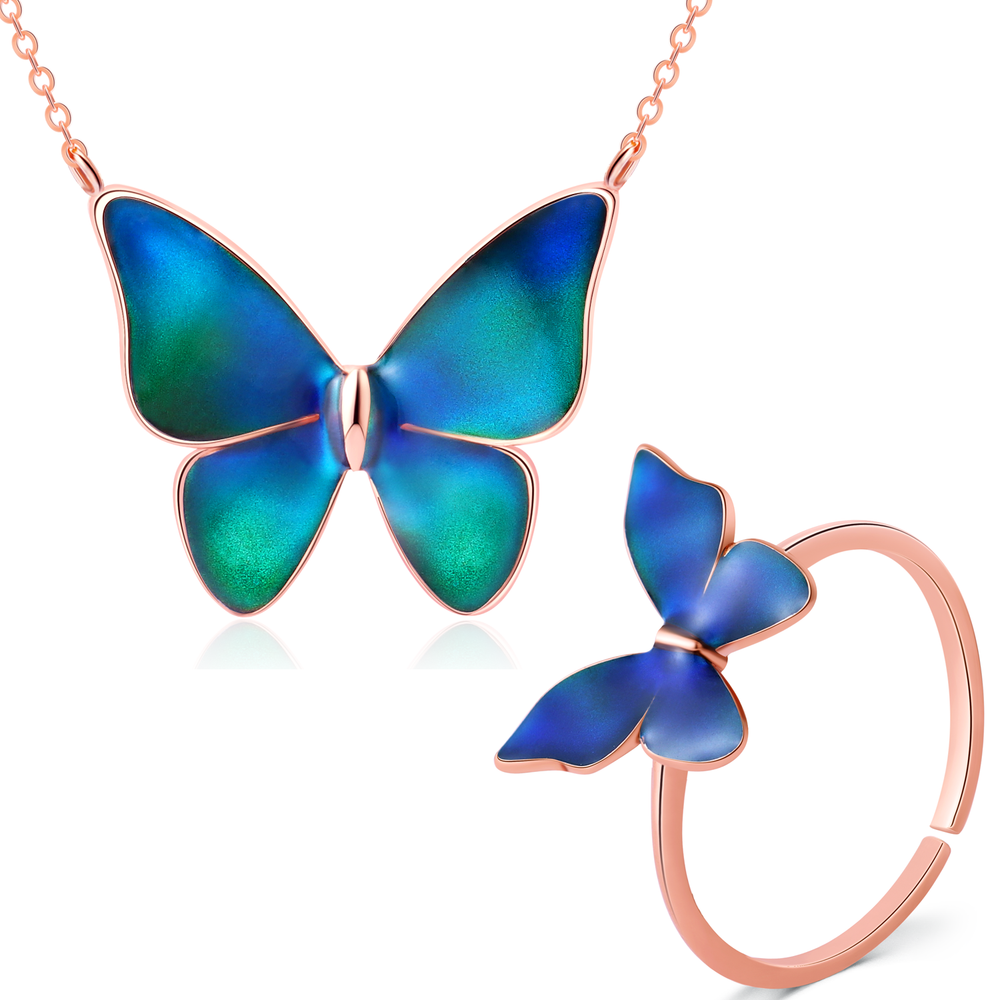 Temperature Sensing Color Changing Butterfly Jewelry for Girls Women, Necklace 18 Inch, Ring  Adjustable Open Size