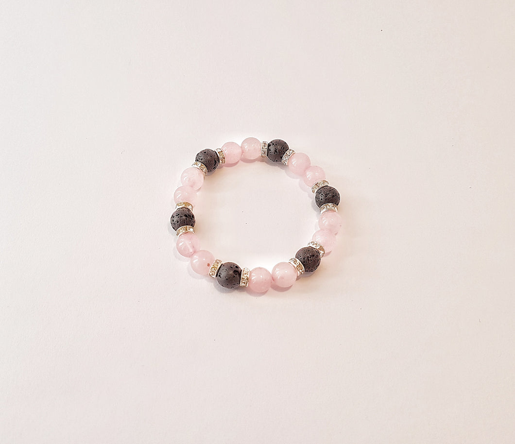 Rose Quartz, Lava Beads and Rhinestones Bracelet - Design #9 | ${description} | bracelet, jewellery, lava, rose quartz$ | Mysentials