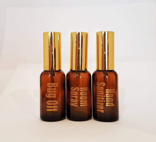 3 x 30ml Amber spritzer bottles with customized LABELS