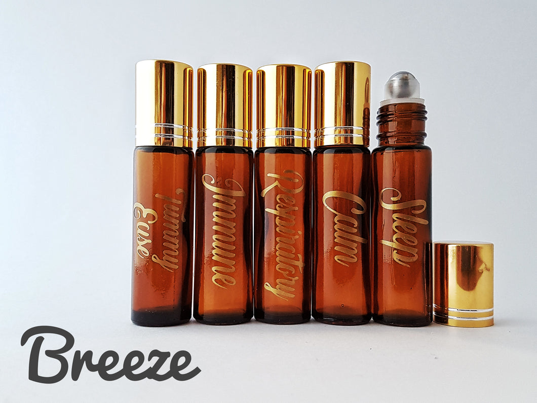 5 x 10ml Amber Roller Bottles with customized Gold LABELS