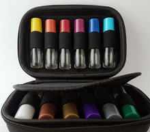 Hard case with 12 x 10ml clear roller bottles with multi-colored lids kit