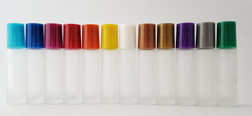 12 x 10ml frosted white roller bottle with multi-colored lids