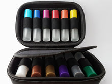 Hard case with 12 x 10ml frosted white roller bottles with multi-colored lids kit