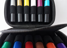 Hard case with 12 x 10ml black roller bottles with multi-colored lids kit